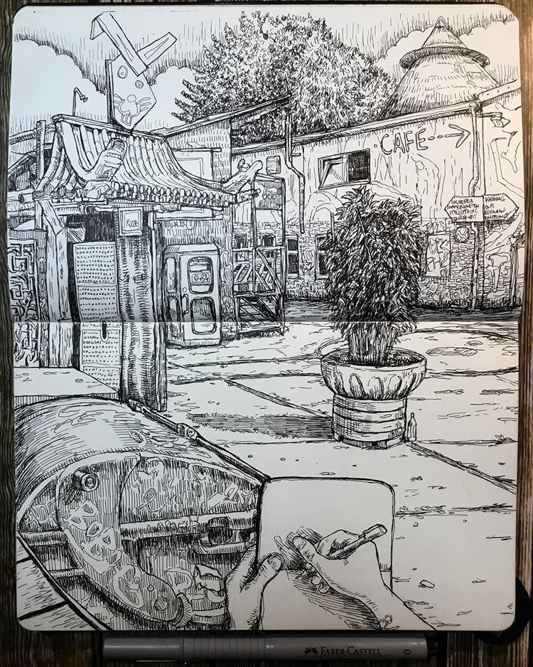 Artist Keeps Sketchbook Journals to Document His Life as an Expat in