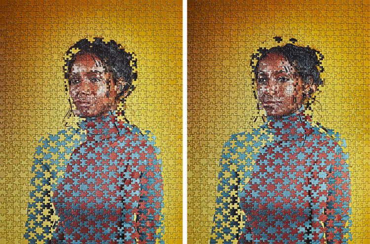 Identical Twins Portrait Photography Jigsaw Puzzles by Alma Haser