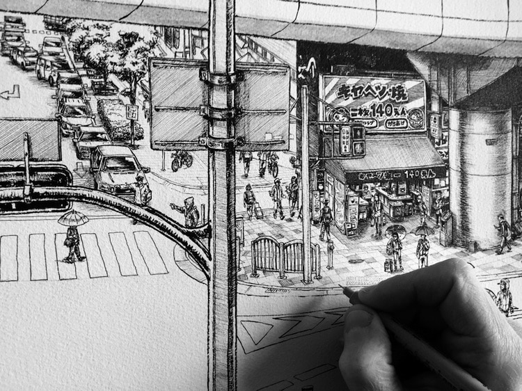 Artist creates incredible large scale mural art of for Cityscape mural