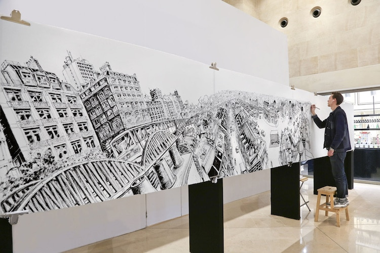 Artist Creates Incredible Large Scale Mural Art of Cityscape Drawings