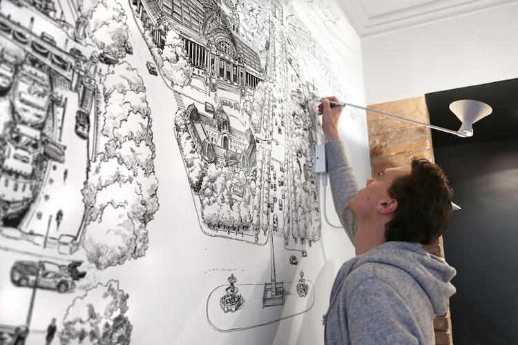 Cityscape Drawing Mural Art by Decktwo