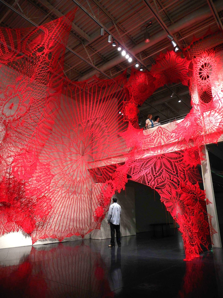 Crochet Doilies Installation Art by Ashley V Blalock