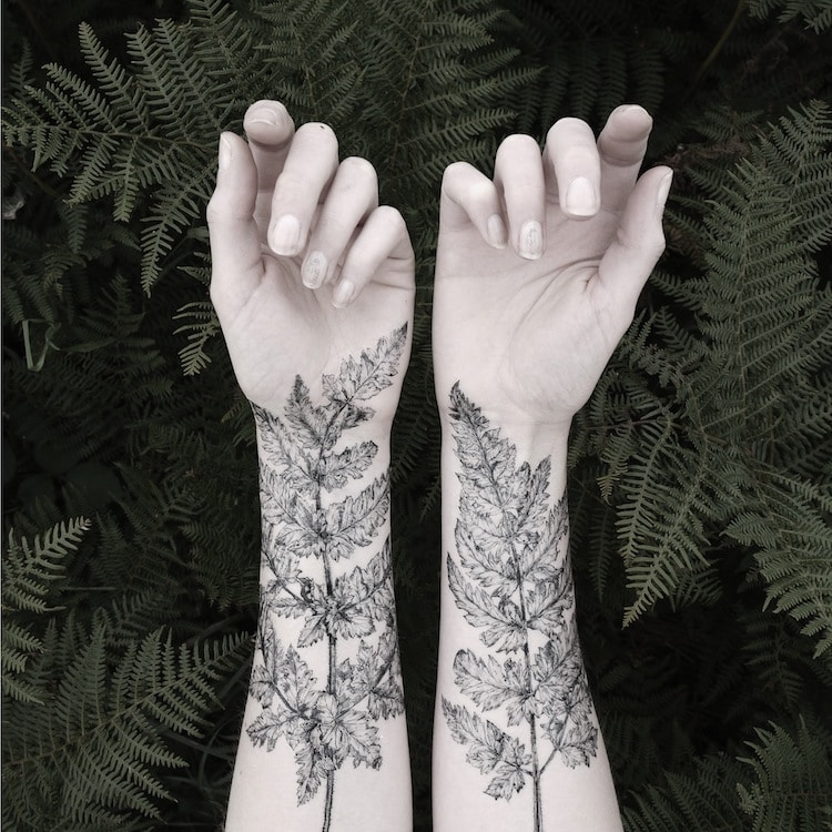 Fern and Crystal Tattoos Pen and Plant Temporary Tattoos Fern Tattoo