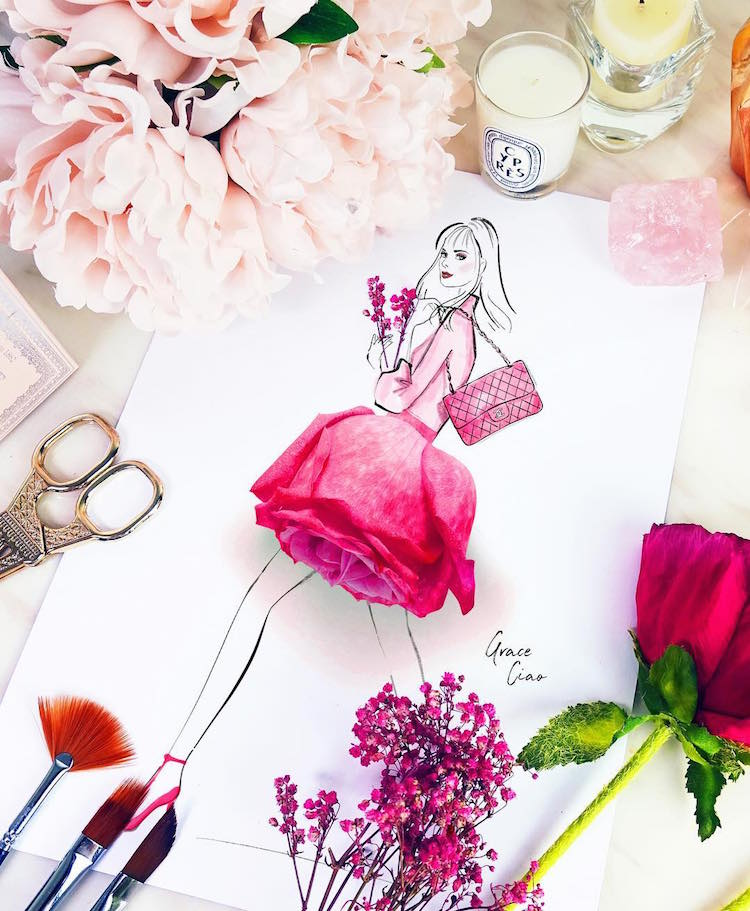 Artist Creates 3D Fashion Illustrations of Floral Dresses Using Real