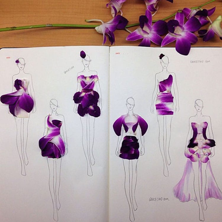 Floral Dresses Fashion Illustrations by Grace Ciao
