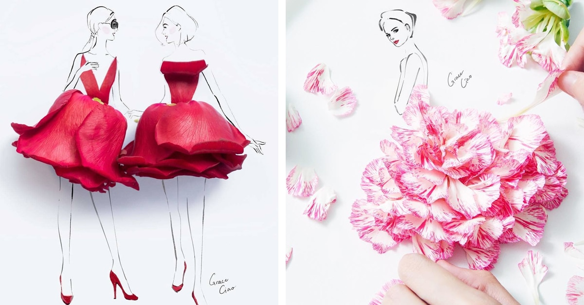 Artist Creates 3D Fashion Illustrations Of Floral Dresses