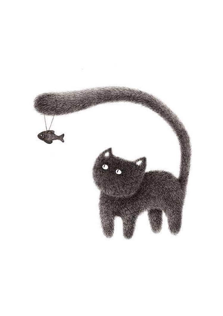 fluffy black cat ink drawings express the personalities of funny felines