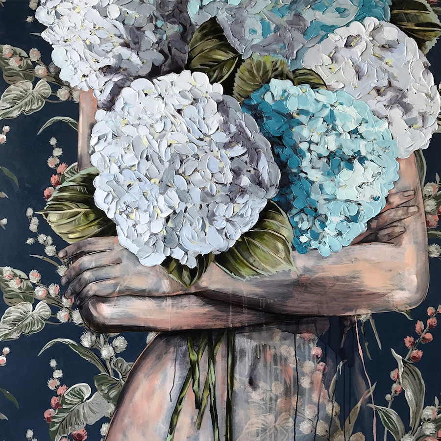 Jessica Watts Mixed Media Paintings Wallpaper Pattern Feminist Art