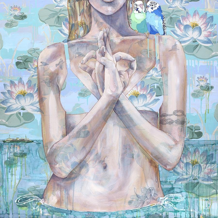 Jessica Watts Mixed Media Paintings Wallpaper Pattern Feminist Art