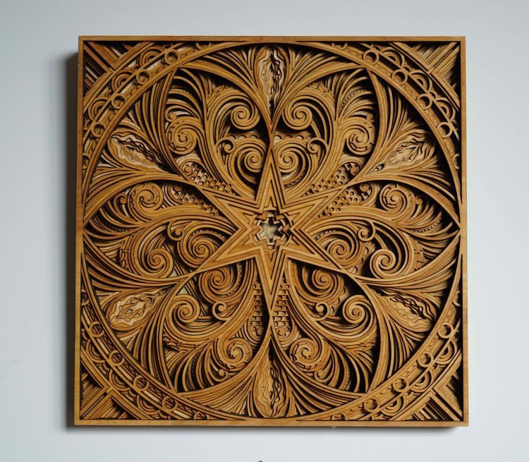 Laser cut wood wall art by gabriel schama