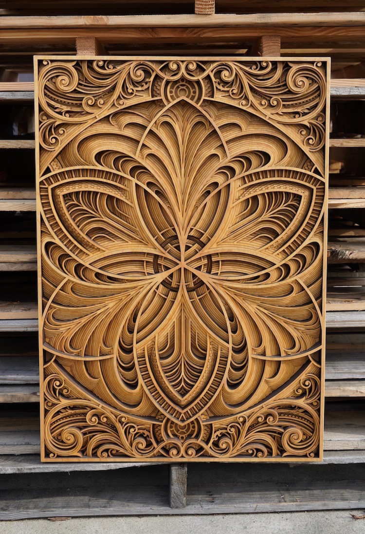 Laser-Cut Wood Wall Art by Gabriel Schama