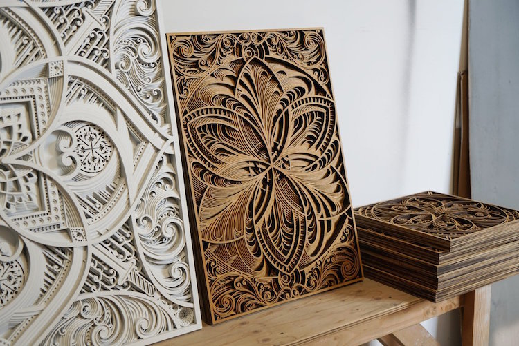 Unique Mesmerizing Laser-Cut Wood Wall Art Feature Layers of Intricate  AB24