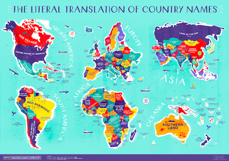 Map Of Countries In The World.Literal World Map Reveals The Historical Meanings Of Country Names
