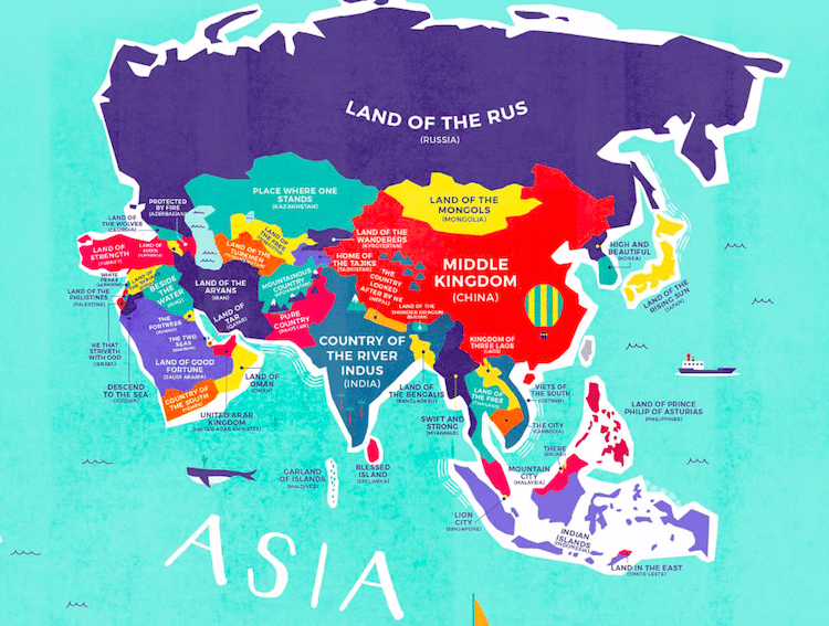 Literal world map reveals the historical meanings of country names literal world map country names gumiabroncs Gallery