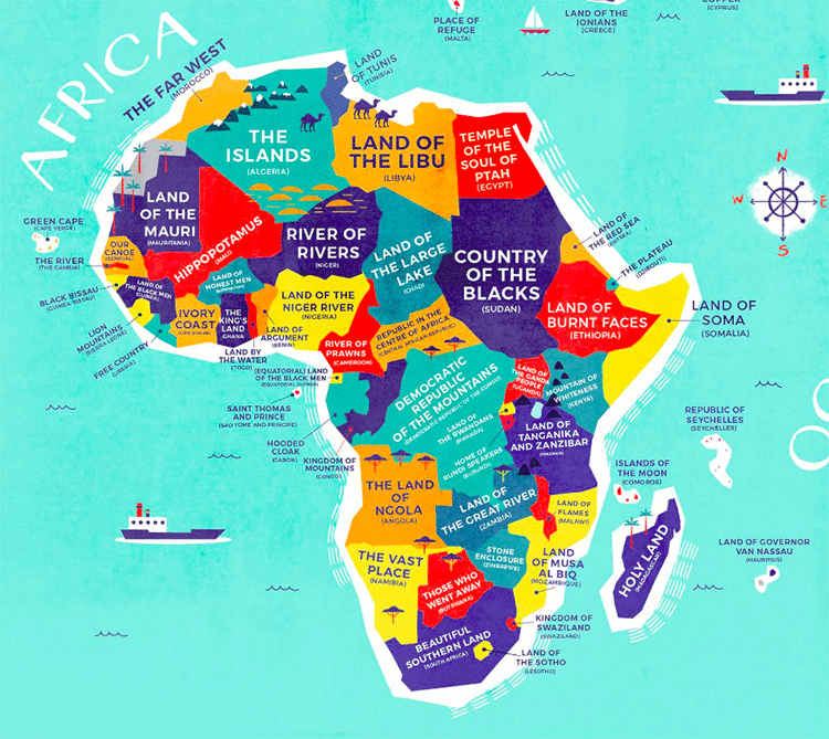 Literal world map reveals the historical meanings of Define contemporary country