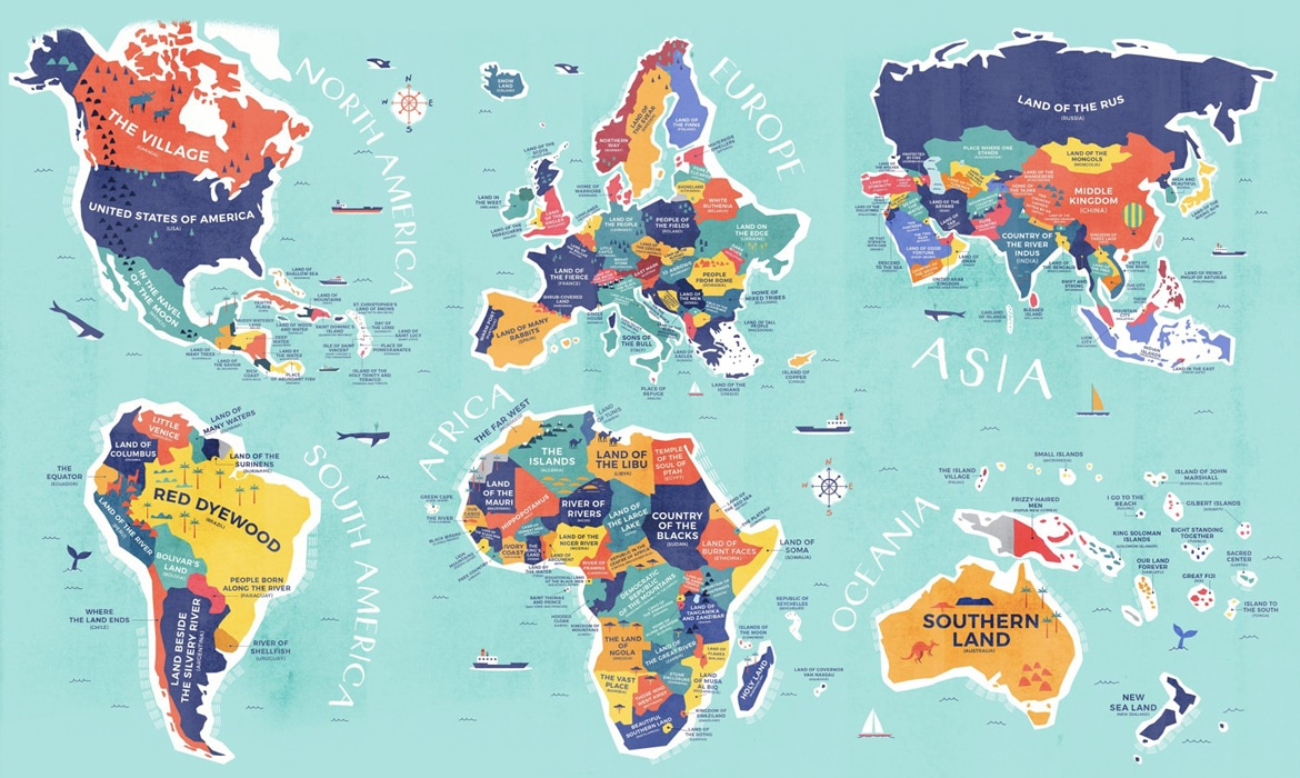 Literal world map reveals the historical meanings of country names gumiabroncs Choice Image