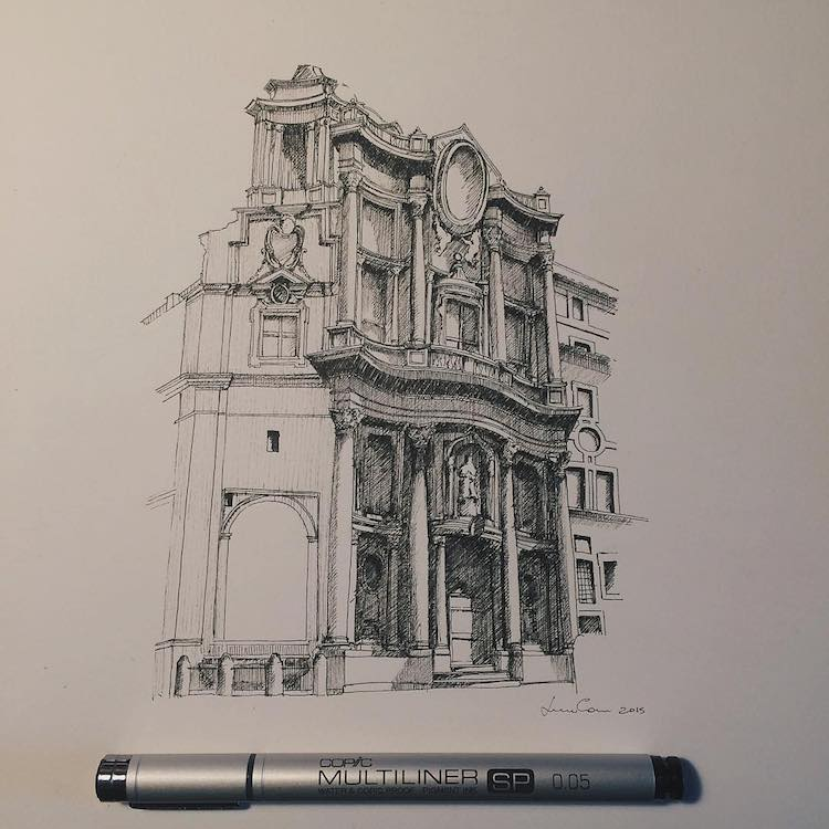 Lorenzo Concas Architectural Sketches