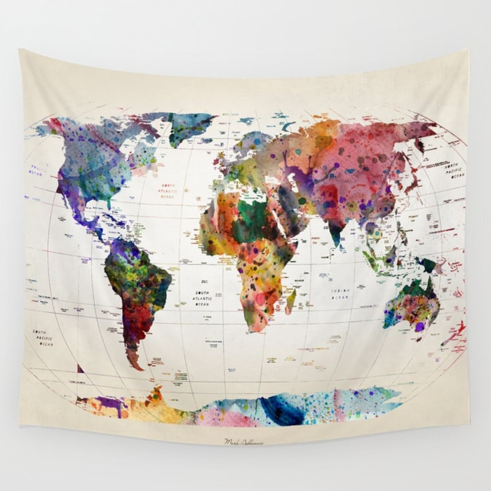 World Map Wall Tapestry Mark Ashkenazi