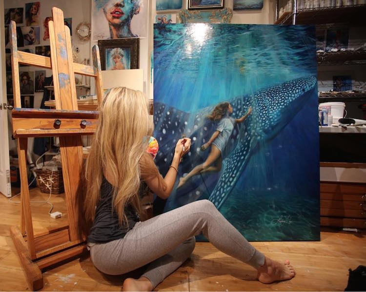 Mixed Media Ocean Goddess Paintings by Lindsay Rapp