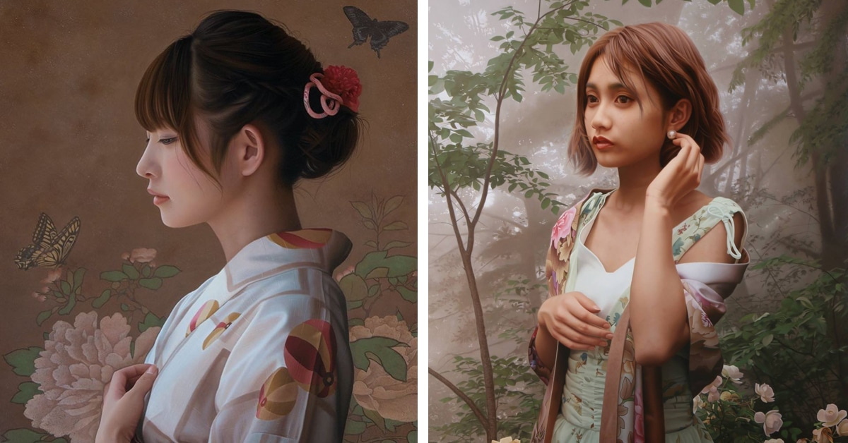 Artist Takes Months to Capture Every Detail of Japanese Women in Ethereal Oil Paintings