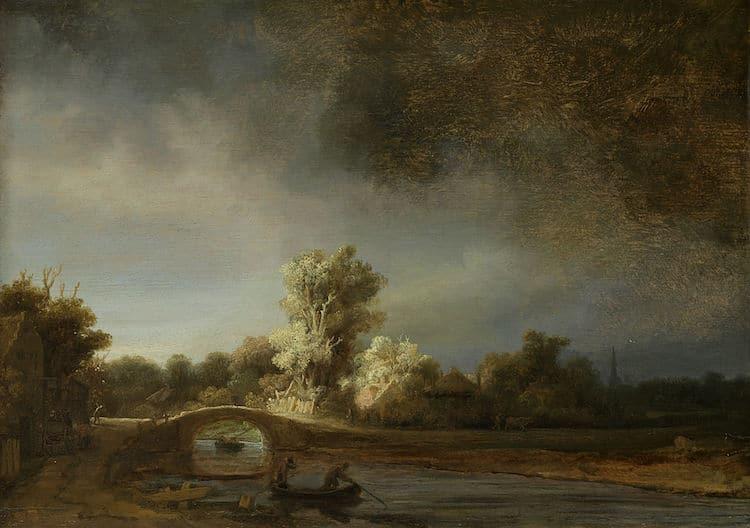 Rembrandt paisaje con puente