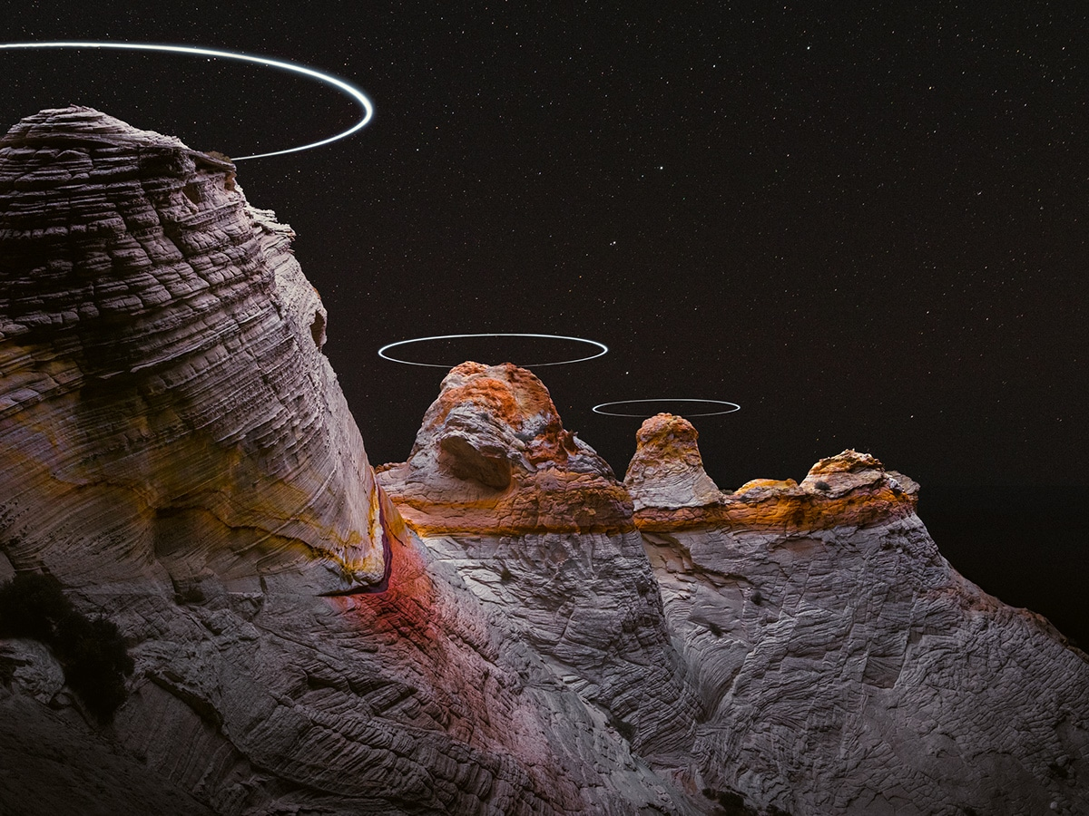 Example of Rueben Wu's drone lit landscapes