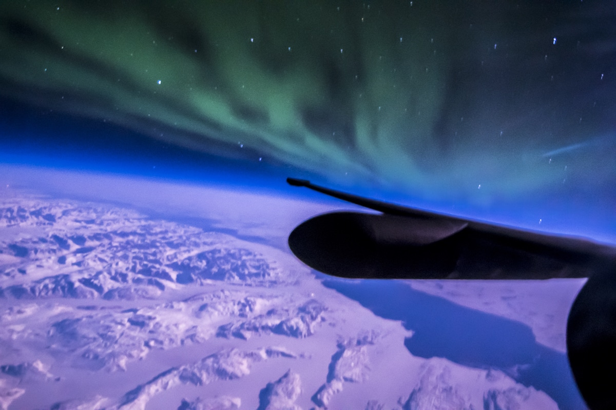 Northern Lights from Airplane