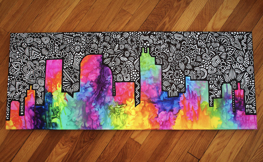 Rainbow Art Melted Crayon Cityscape Zenspire Designs