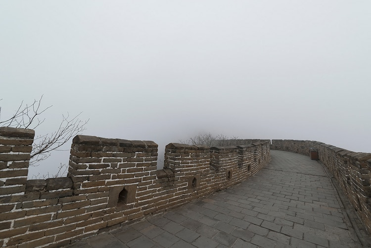 Empty Great Wall of China Foggy Great Wall of China