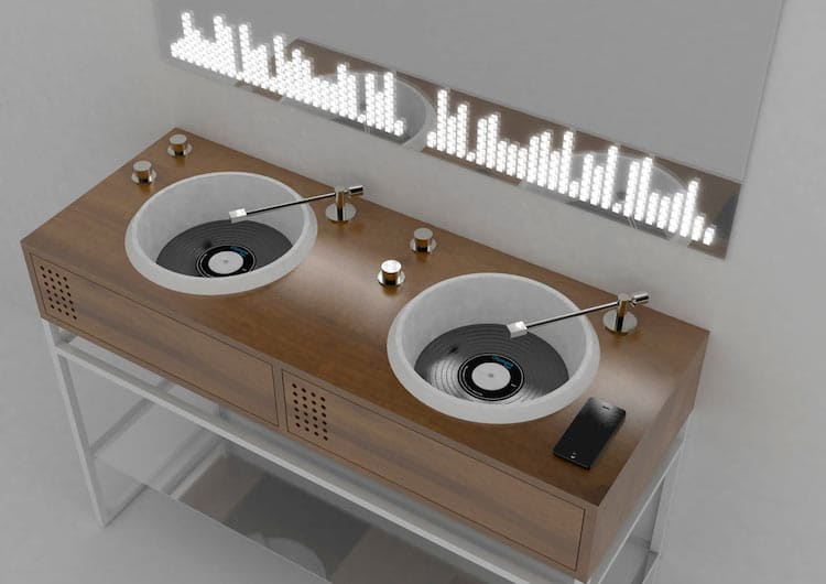 Turntable Inspired Bathroom Sinks Celebrate Your Vinyl