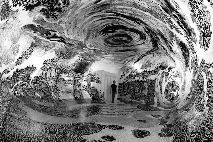 immersive installation art fills dome with 360 degree landscape drawing
