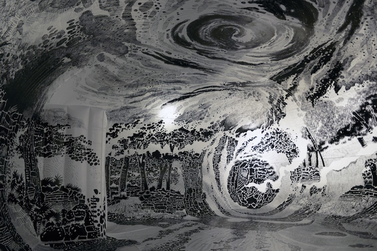 Dome Landscape Drawing Installation Art by Oscar Oiwa