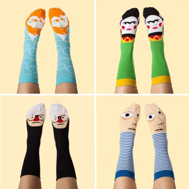 Famous Artist Socks Frida Kahlo Socks Van Gogh Socks Picasso Socks Andy Warhol Socks