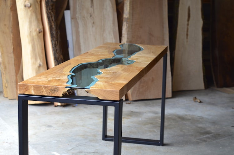 Wooden Furniture with Blue Glass Rivers by Greg Klassen