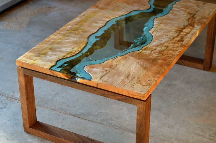 ... Wooden Furniture With Blue Glass Rivers By Greg Klassen ...