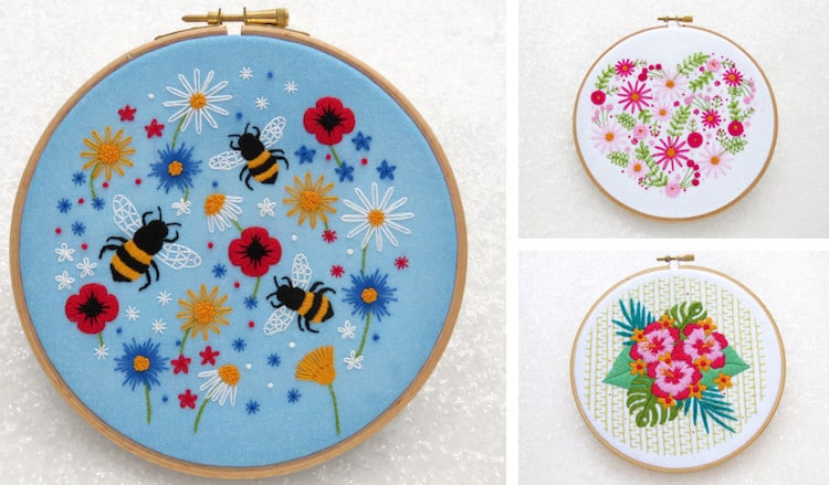 Stamped Embroidery Kits Flower Embroidery Bee Embroidery
