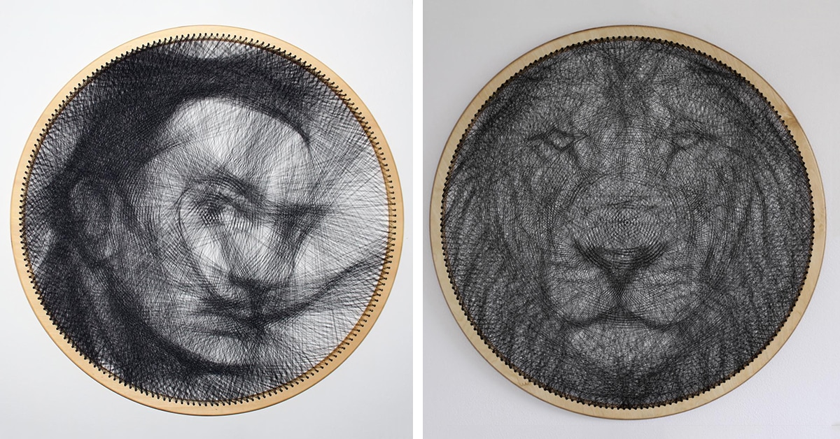 Artist Creates String Art Portraits From Single Unbroken Threads