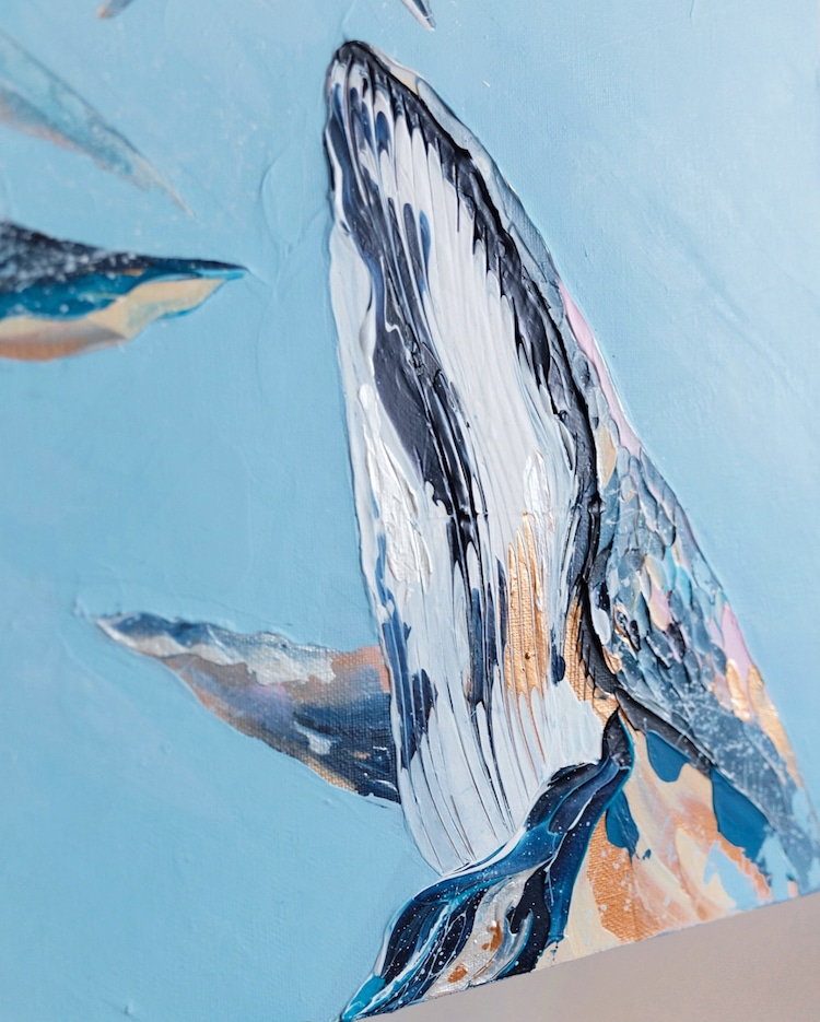 Palette Knife Paintings Whale Paintings by Anastasia Ablogina