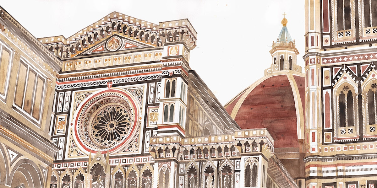 Architectural Watercolor by Maja Wronska