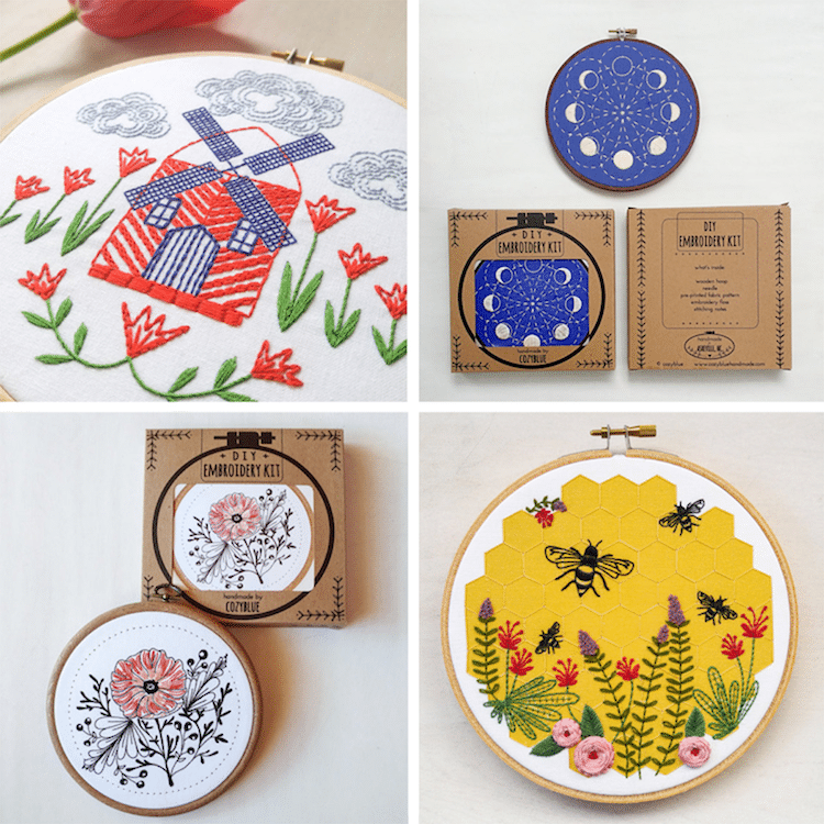 DIY Embroidery Kits for Beginners Cozyblue Handmade