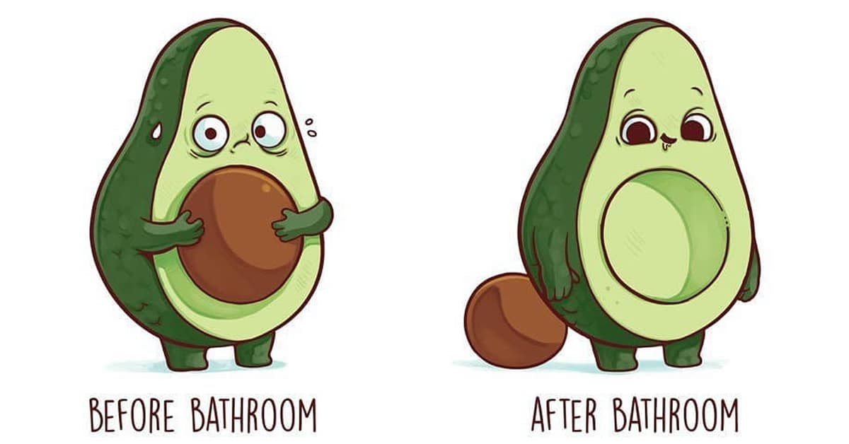 cute cartoon drawings illustrate relatable before and after scenarios