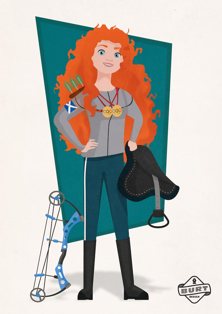 Disney Princess Career Illustrations by Matt Burt