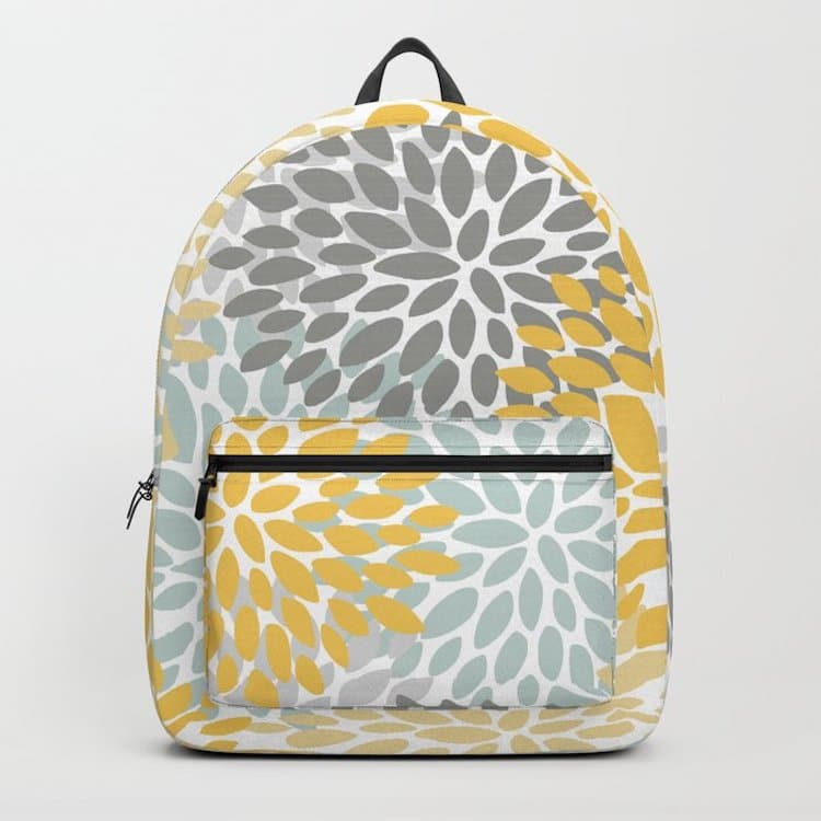 Abstract Flower Print Backpack