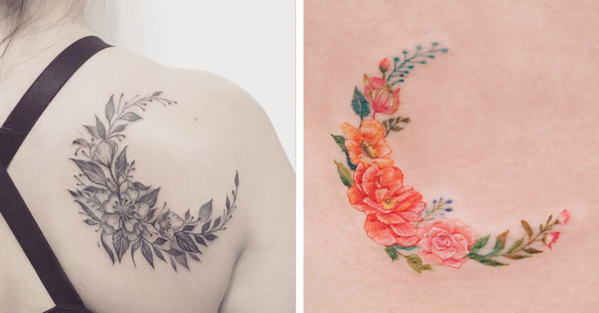 20+ Flower Moon Tattoos Celebrating the Return of Beautiful Blooms