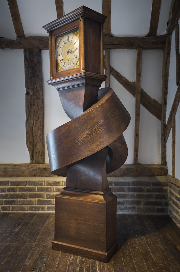 Grandfather Clock Contemporary Sculpture by Alex Chinneck