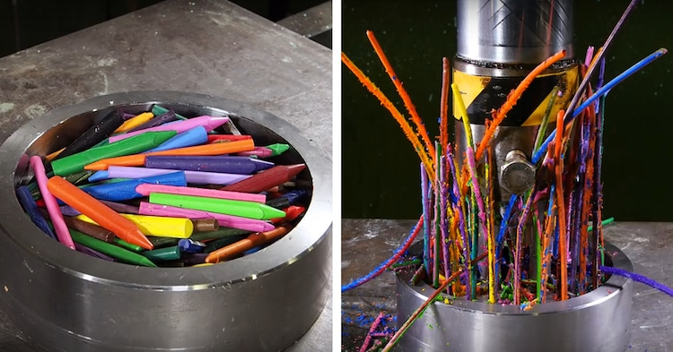 Hydraulic Press Crushes Crayons Hydraulic Press Channel