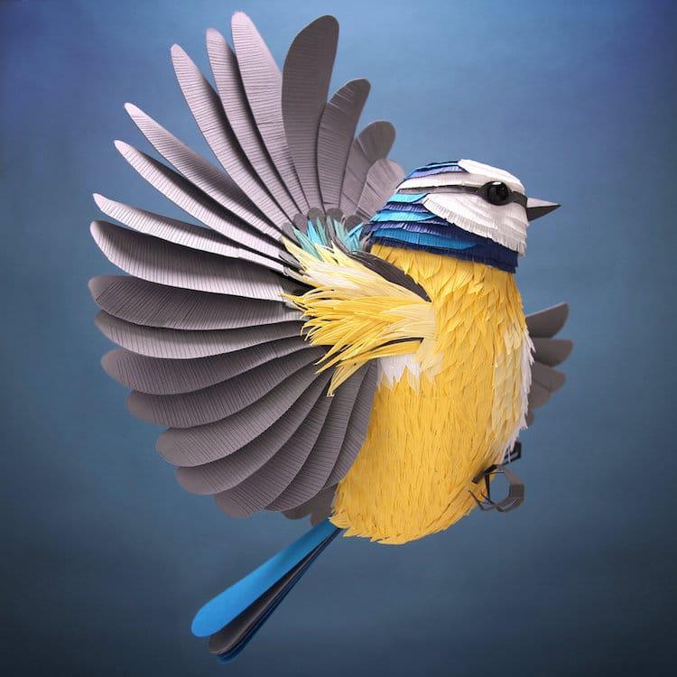 artist creates 3d paper art sculptures of birds bees and flowers
