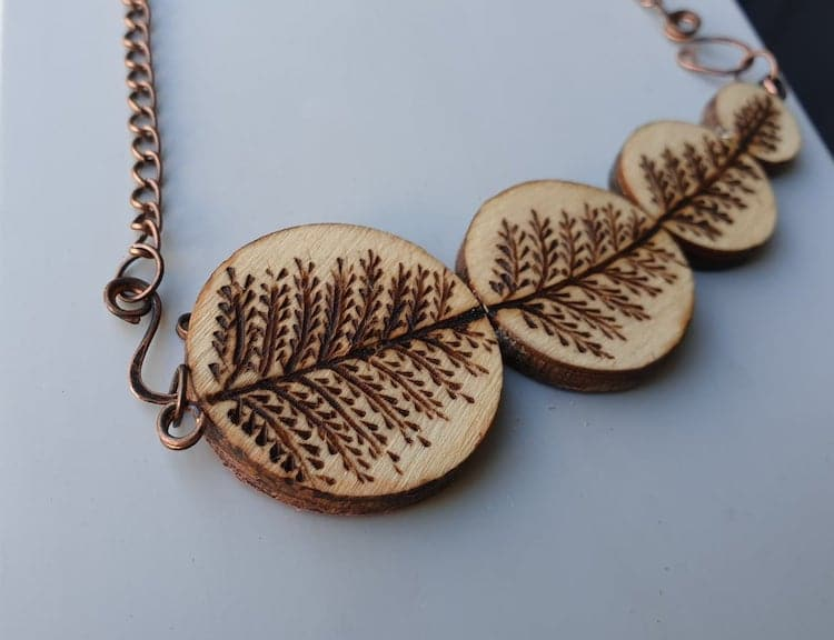 Pyrography Necklace