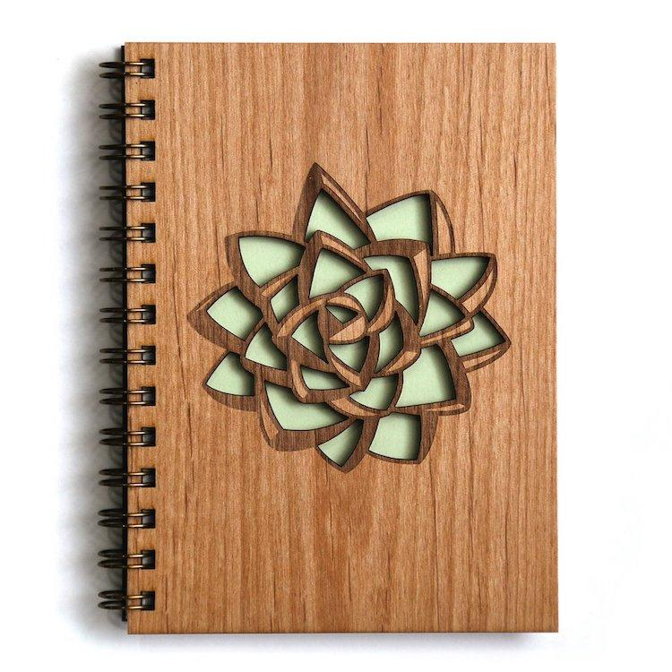 Laser-Cut Wood Cover Journals by Cardtorial