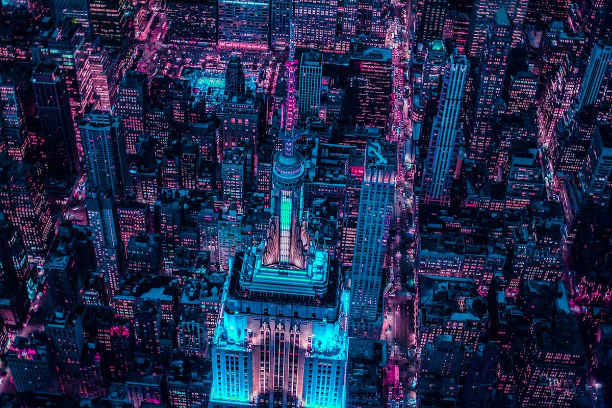 Nighttime Aerial Photography of New York by Xavier Portela